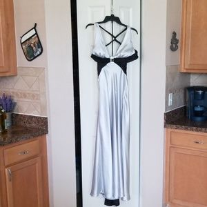 Silver and black gown